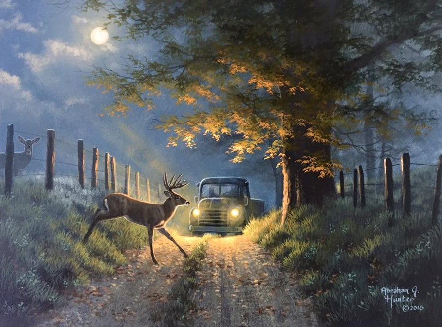 Deer Crossing by Abraham Hunter